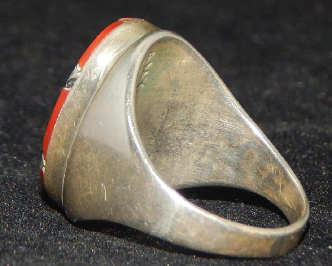Native American Zuni Sterling & Coral Ring - 4