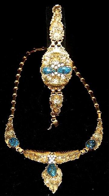 Navajo 14k Turquoise & Diamond Necklace & Bracelet