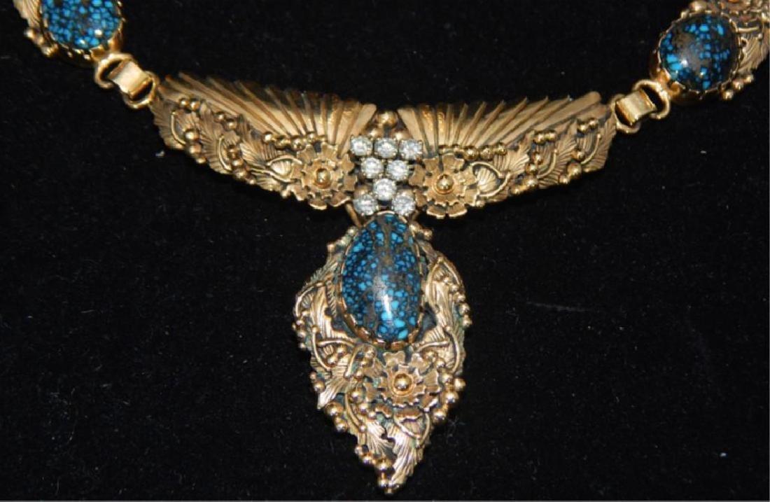 Navajo 14k Turquoise & Diamond Necklace & Bracelet - 2