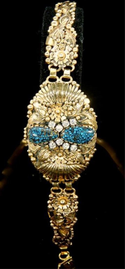Navajo 14k Turquoise & Diamond Necklace & Bracelet - 4