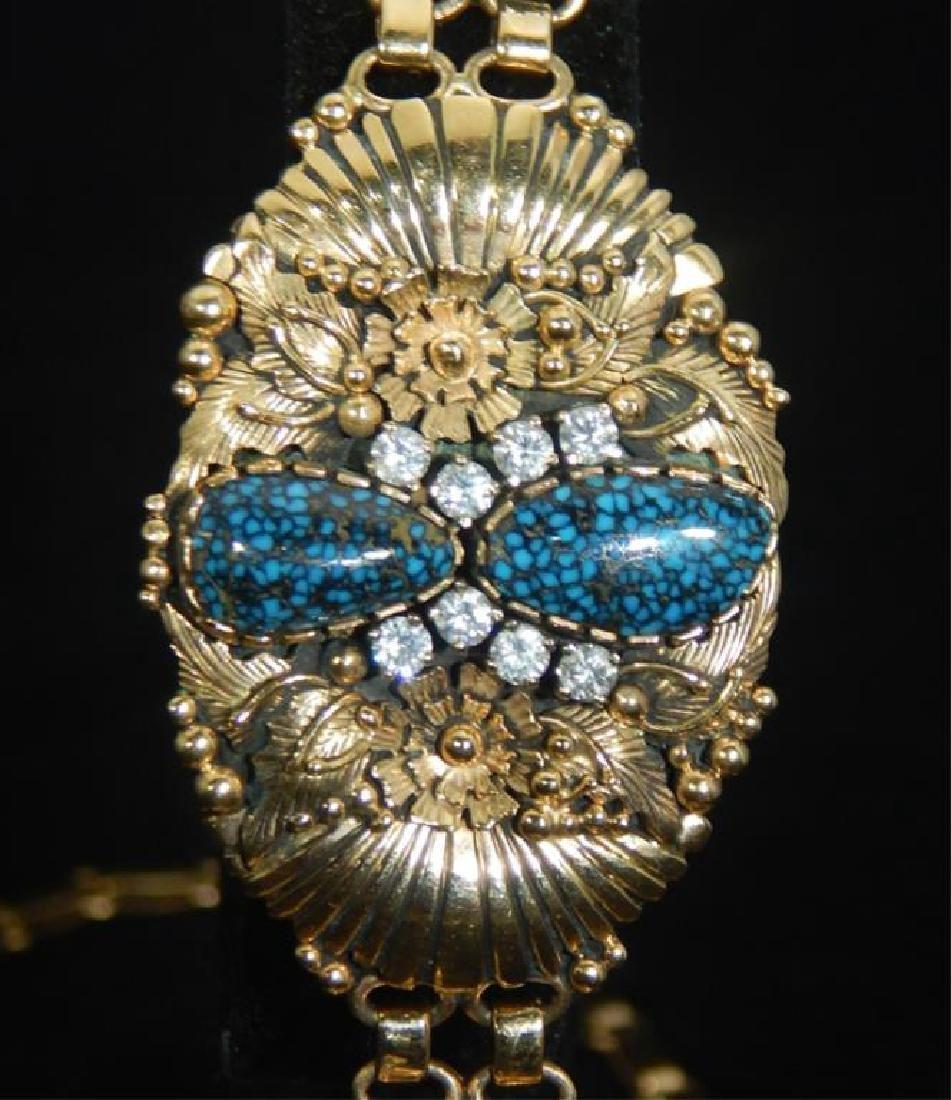 Navajo 14k Turquoise & Diamond Necklace & Bracelet - 6