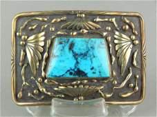 Sterling, 14k Gold Overlay & Turquoise Belt Buckle