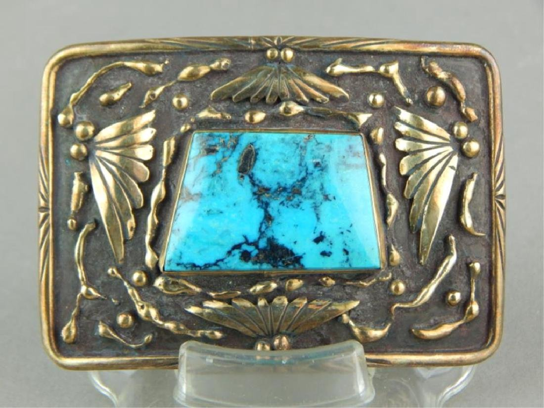 Sterling, 14k Gold Overlay & Turquoise Belt Buckle