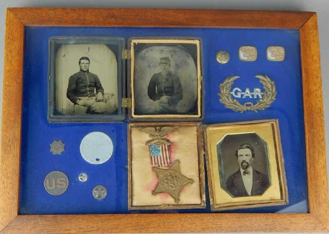 Civil War Daguerreotypes, Medals & Badges in Frame