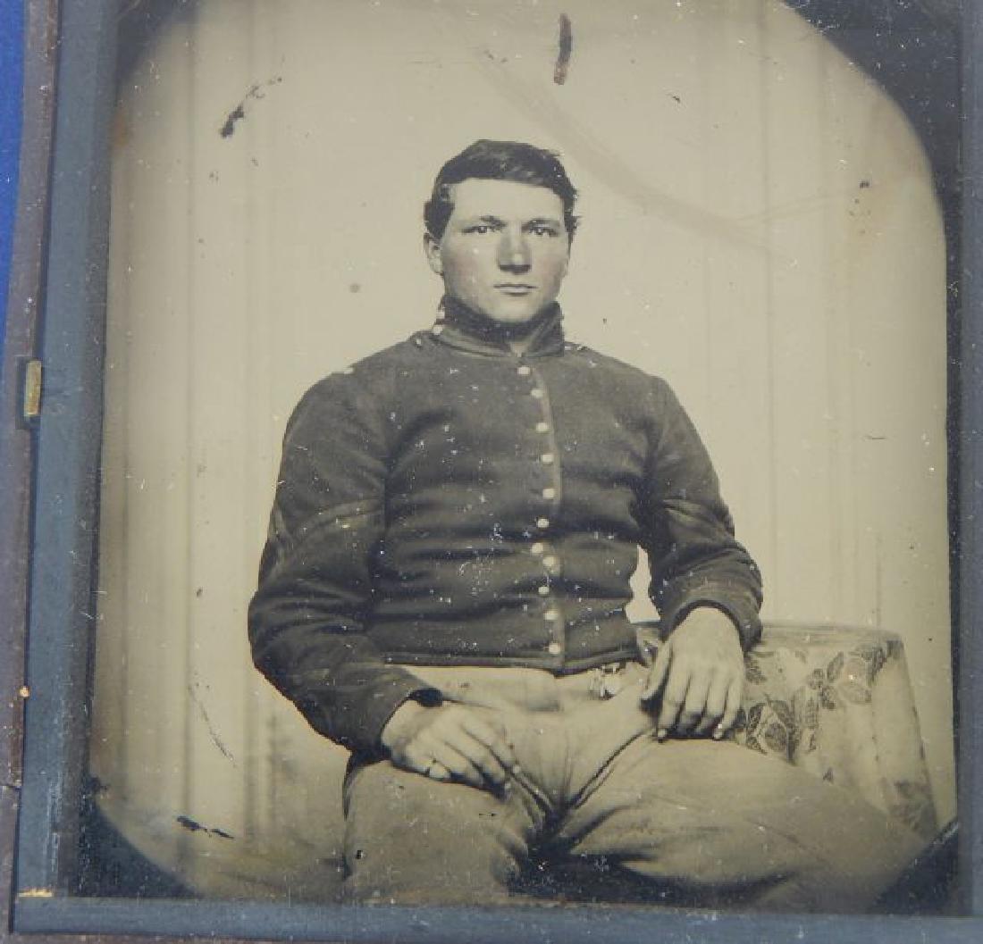 Civil War Daguerreotypes, Medals & Badges in Frame - 3