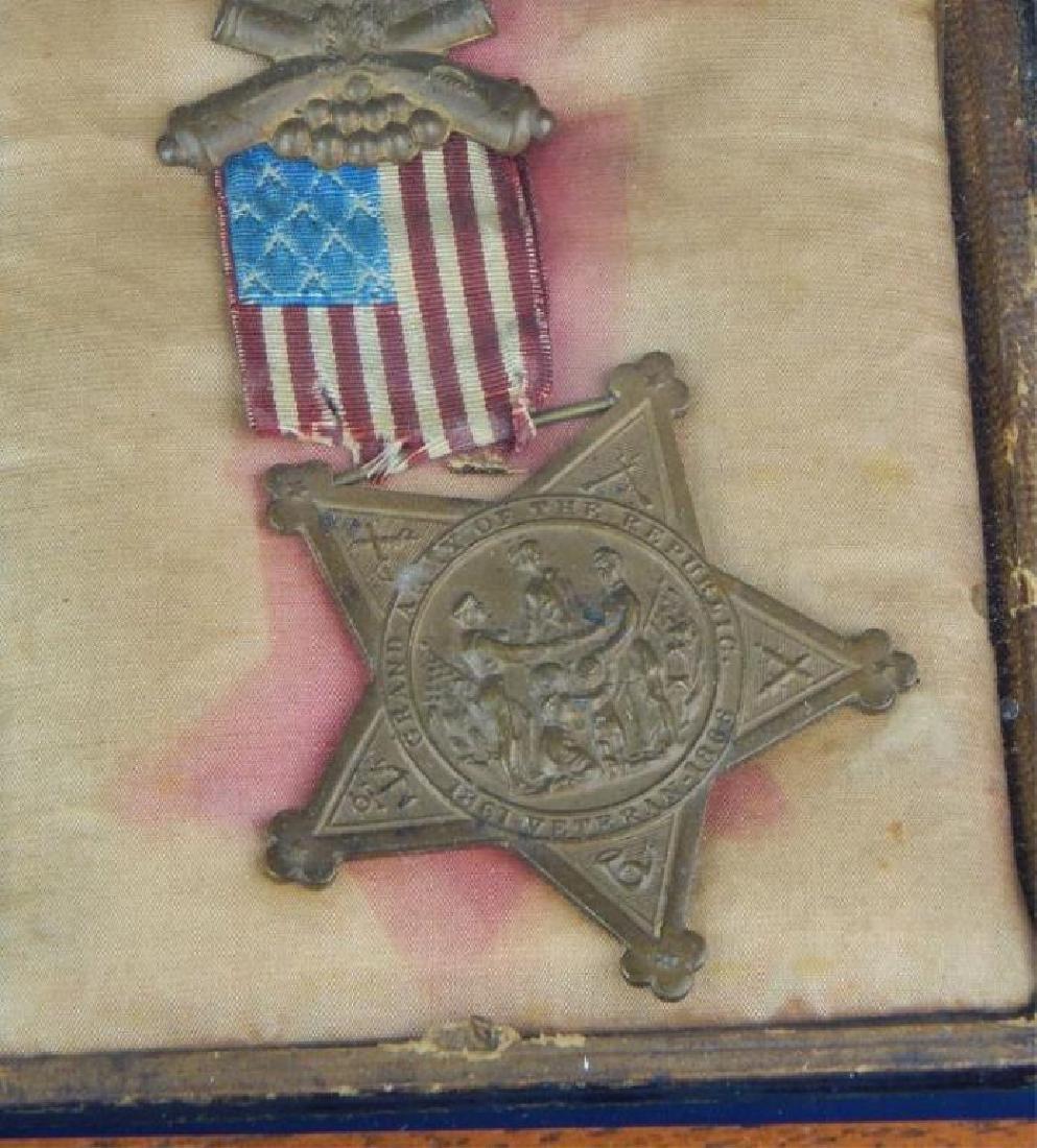 Civil War Daguerreotypes, Medals & Badges in Frame - 5
