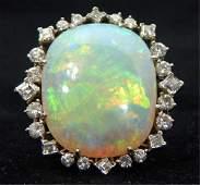 Custom Platinum Australian Opal and Diamond Ring