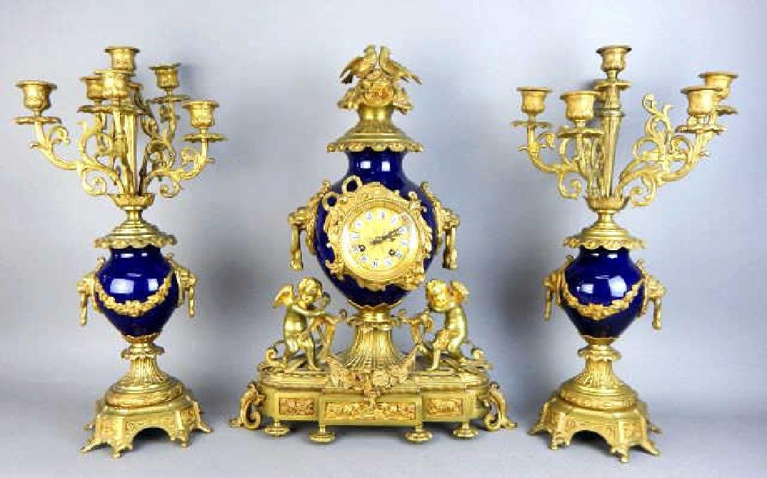 19th Century French Dore Bronze & Sevres Clock Set