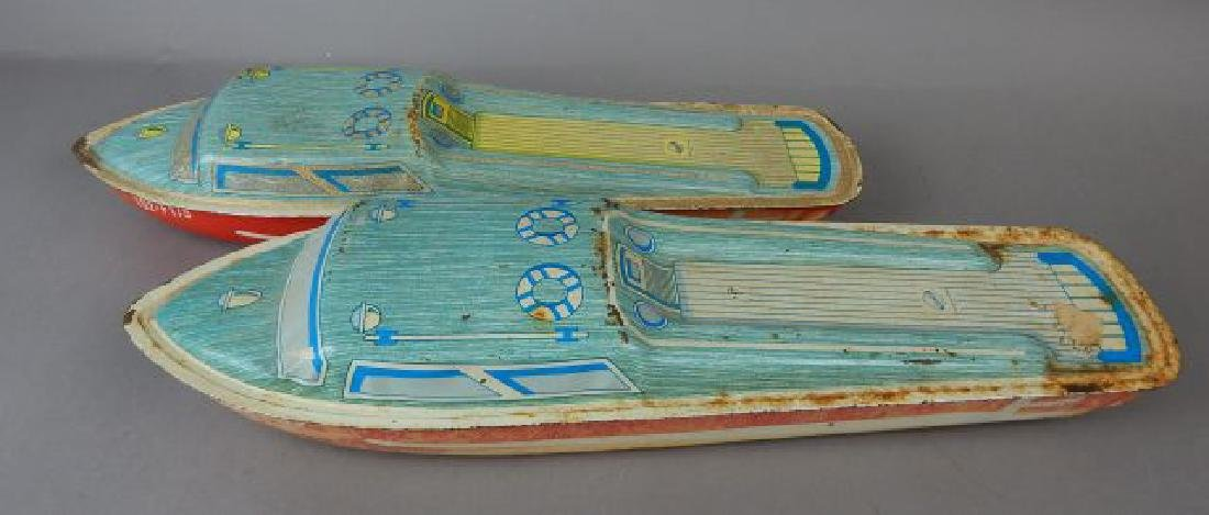 Two Ohio Art Litho Tin Boats
