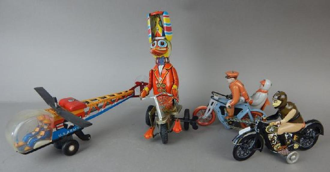 Motorcycle, Helicopter, Duck & Sidecar Tin Toys