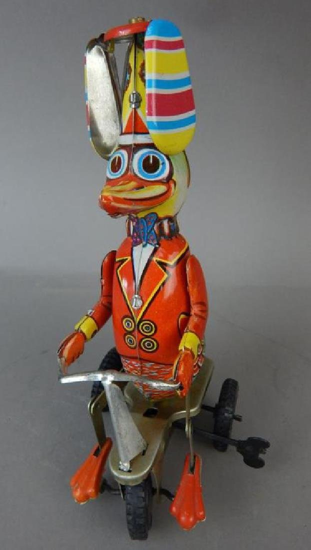 Motorcycle, Helicopter, Duck & Sidecar Tin Toys - 2