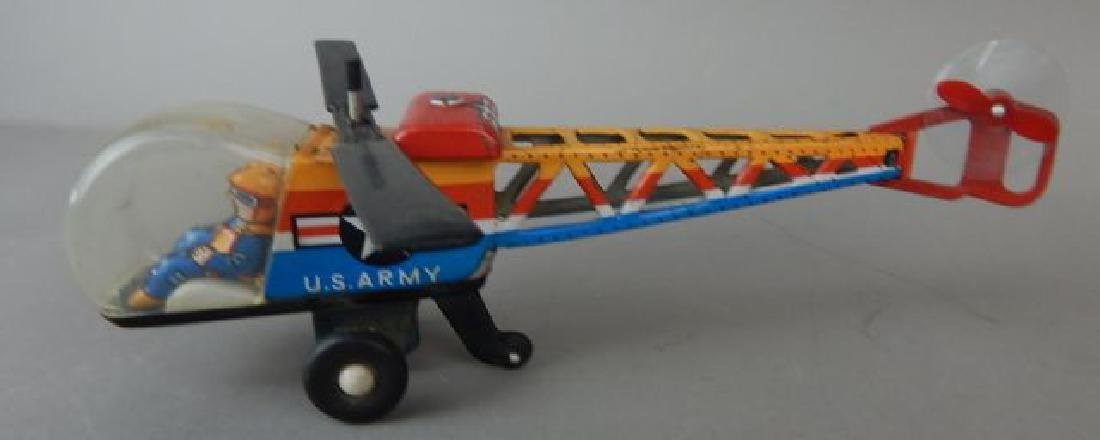 Motorcycle, Helicopter, Duck & Sidecar Tin Toys - 4
