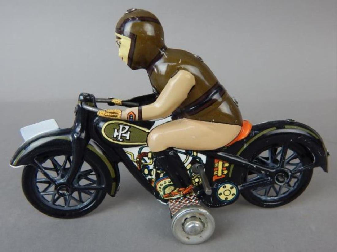 Motorcycle, Helicopter, Duck & Sidecar Tin Toys - 5