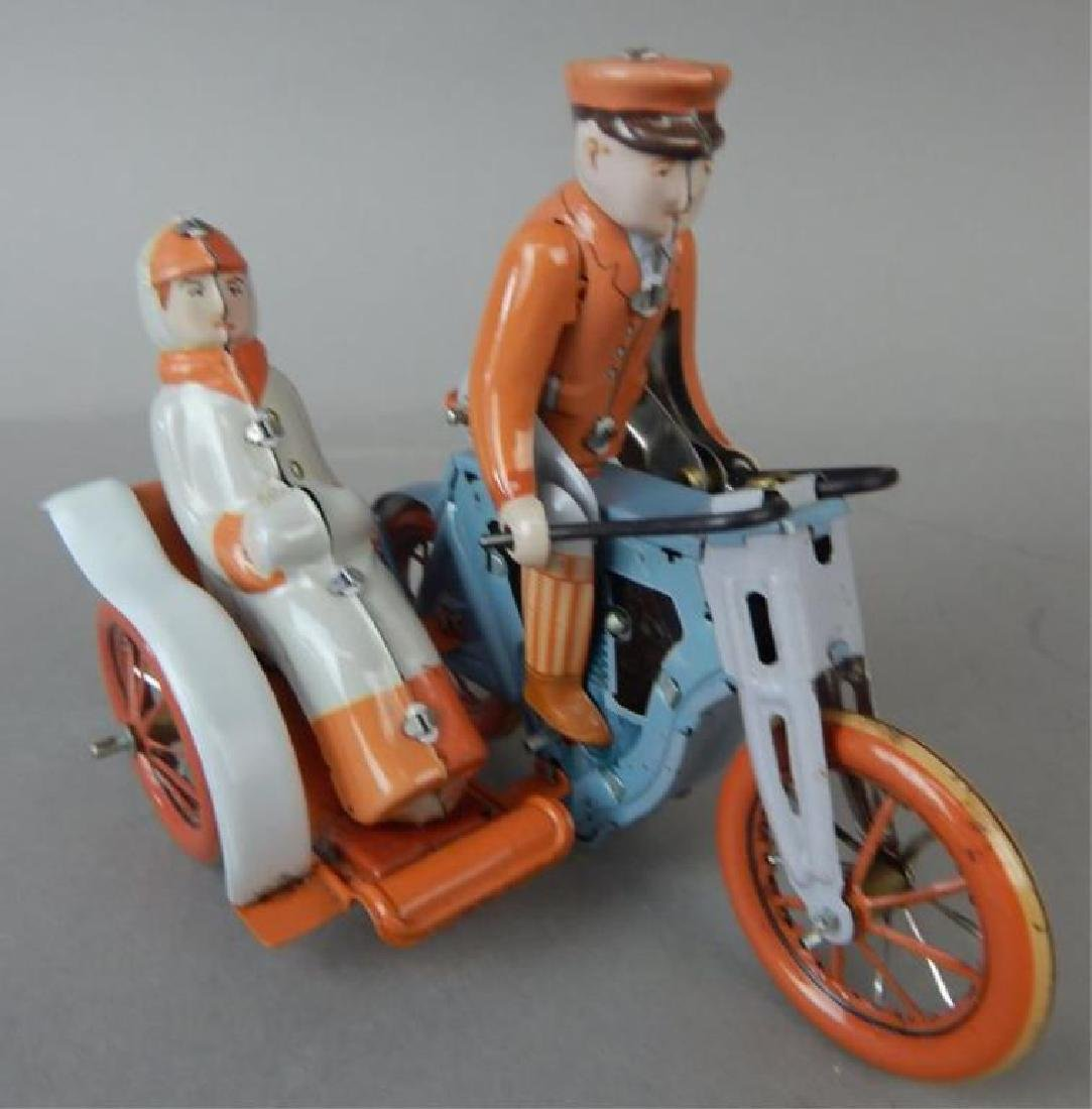 Motorcycle, Helicopter, Duck & Sidecar Tin Toys - 6