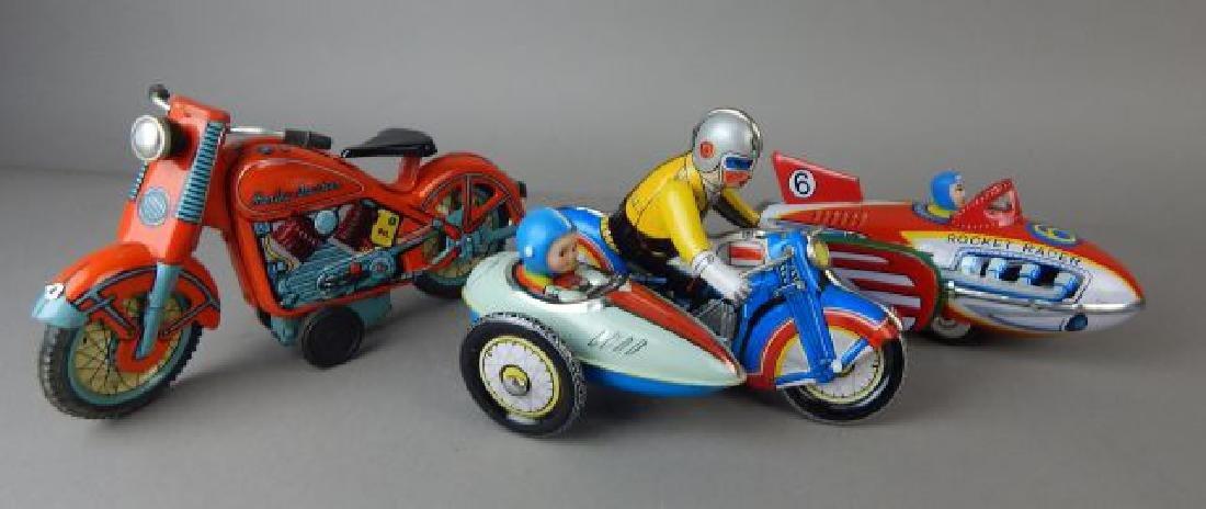 Harley Davidson, Rocket Racer & Sidecar Tin Toys