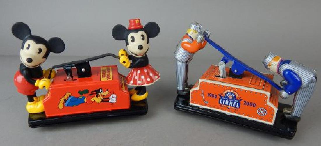 Lionel & Mickey & Minnie Mouse Tin Pump Cars