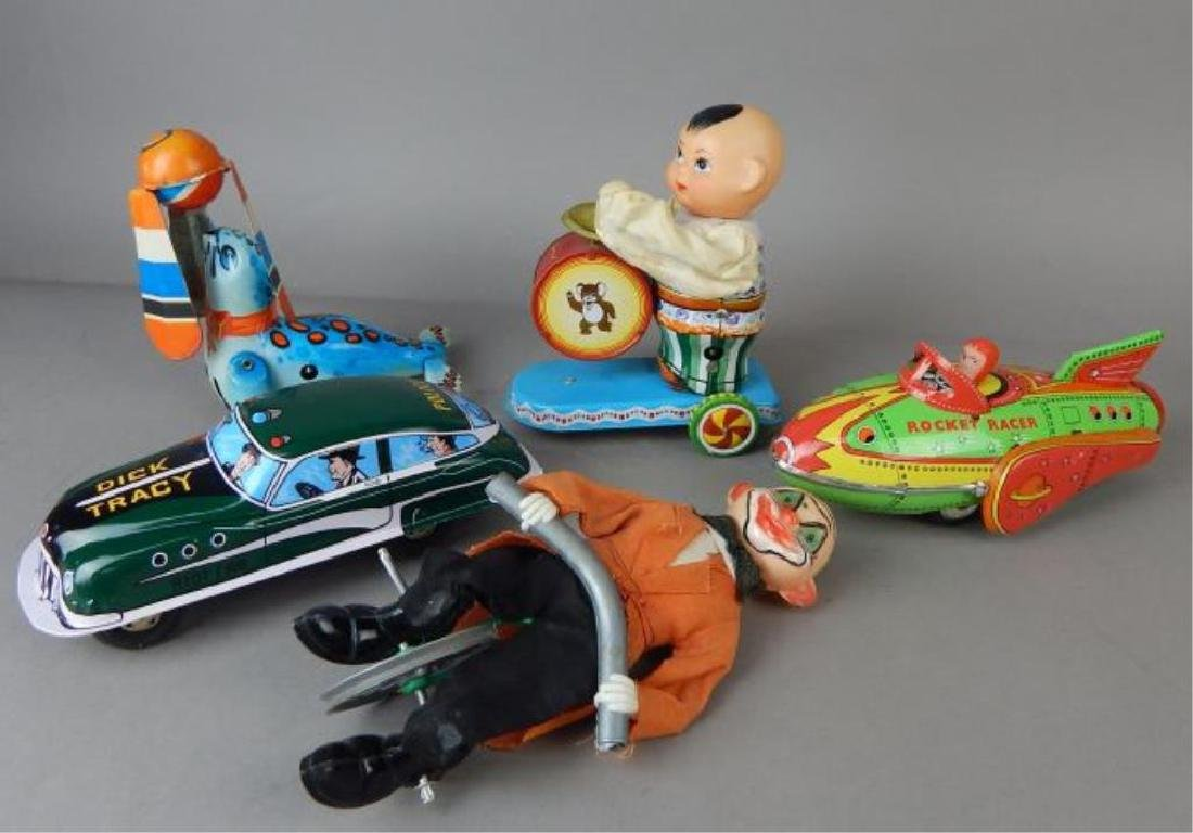 Collection of Five Vintage Tin Toys