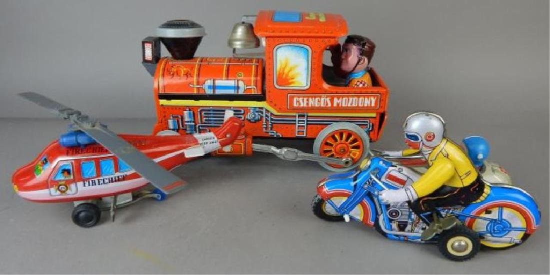 Helicopter, Train and Motorcycle Tin Toys