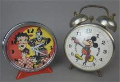 Mickey Mouse and Betty Boop Alarm Clocks