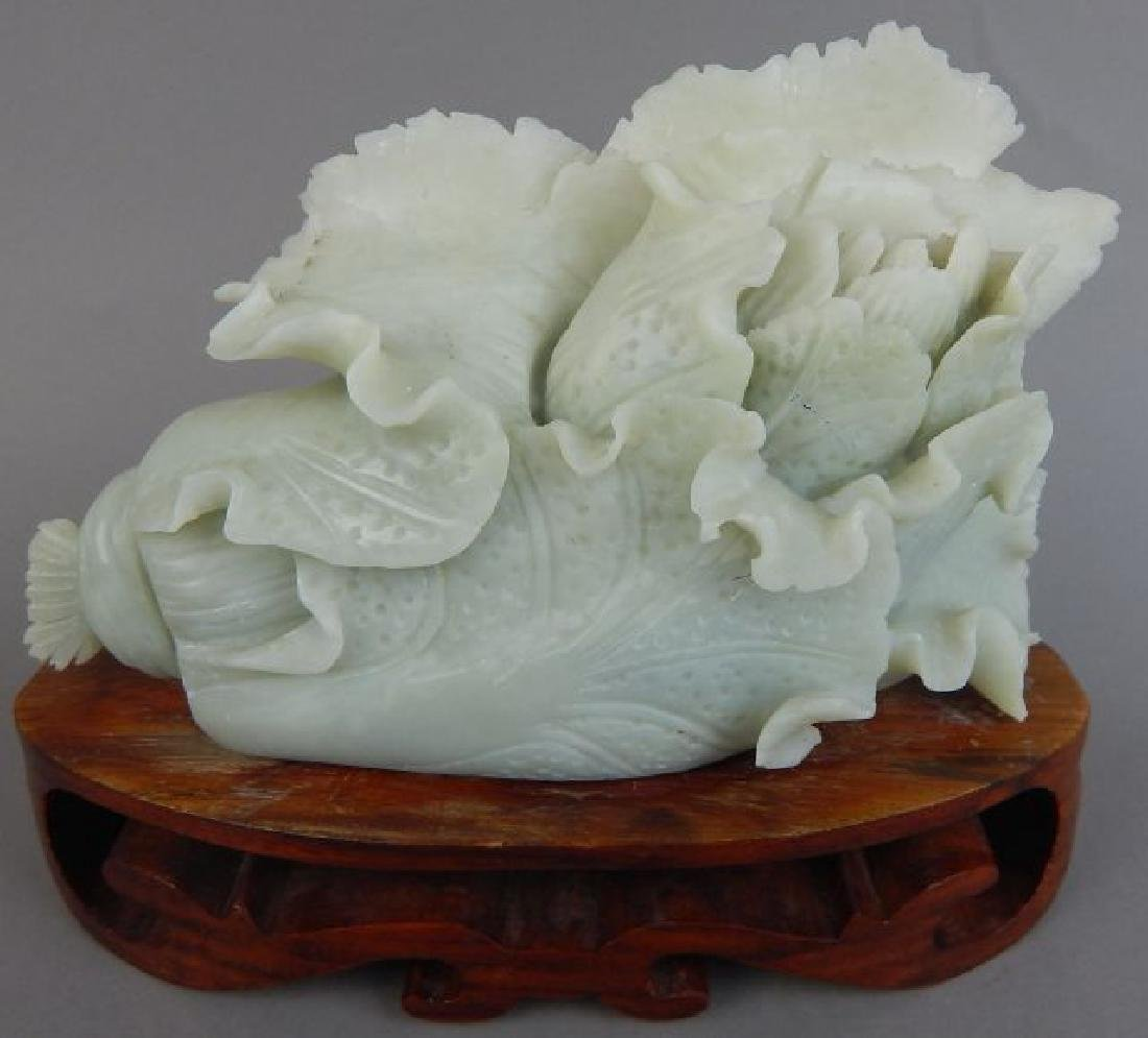 Carved Jade Cabbage with Stand