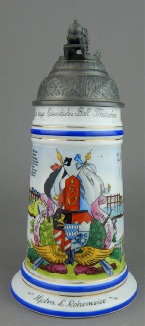 German Porcelain Regimental Lithopane Stein