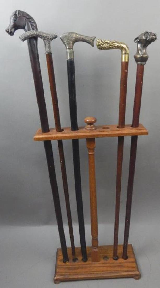 5 Canes with Wood Cane Holder