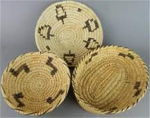 3 Native American Baskets By The Papago Indians