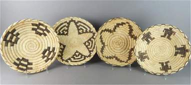 4 Native American Baskets By The Papago Indians