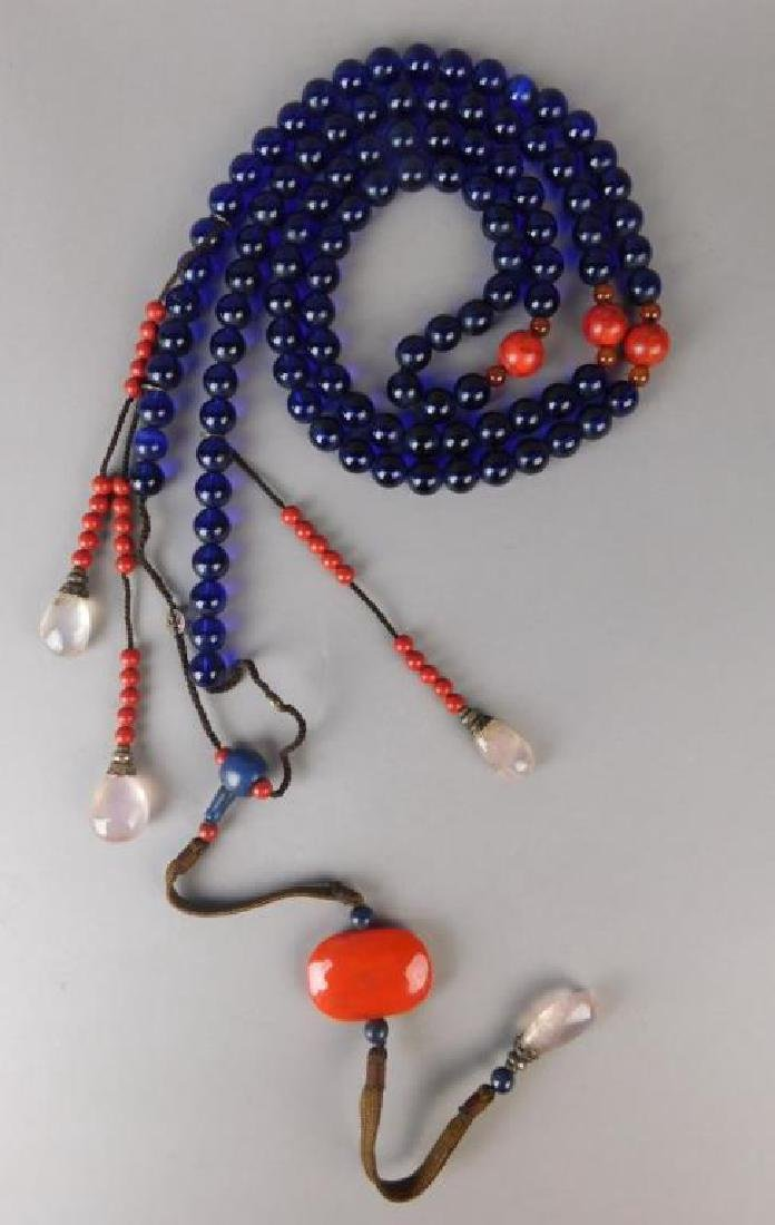 Large Chinese Crystal and Wood Necklace