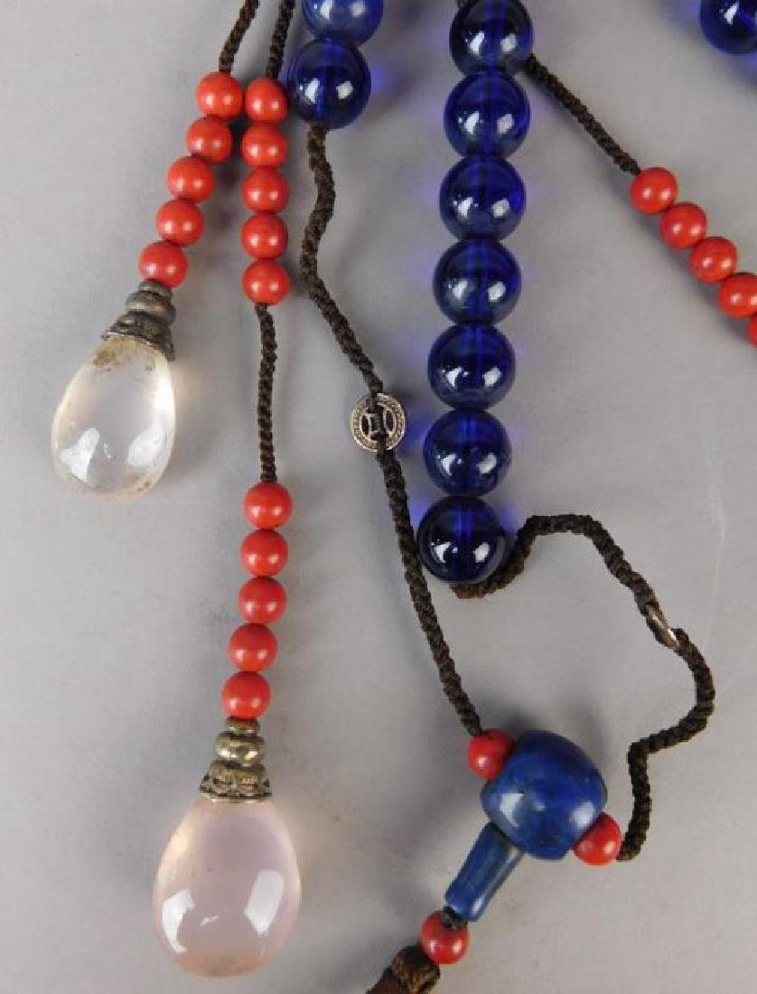 Large Chinese Crystal and Wood Necklace - 3