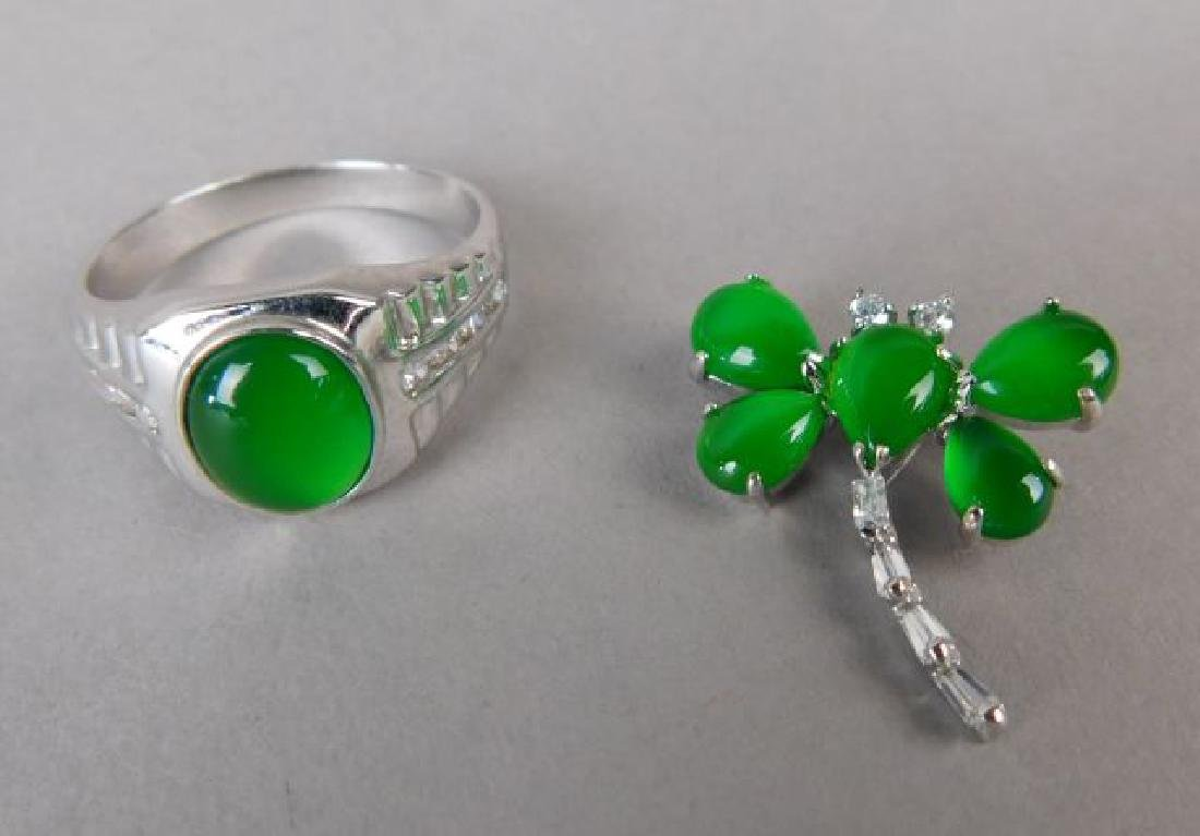 Jadeite and Silver Ring and Pendant