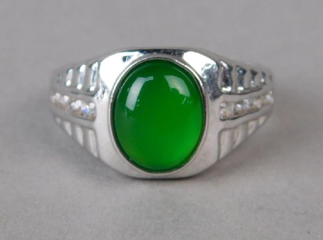 Jadeite and Silver Ring and Pendant - 2