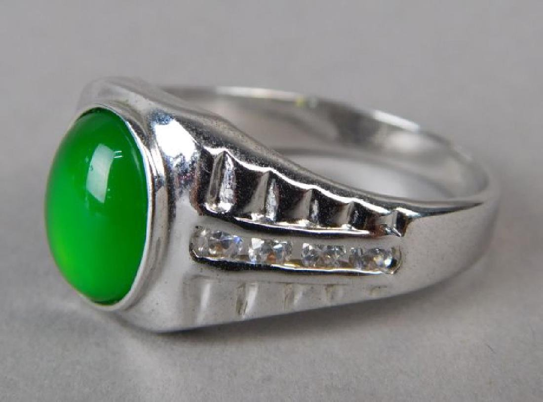Jadeite and Silver Ring and Pendant - 3