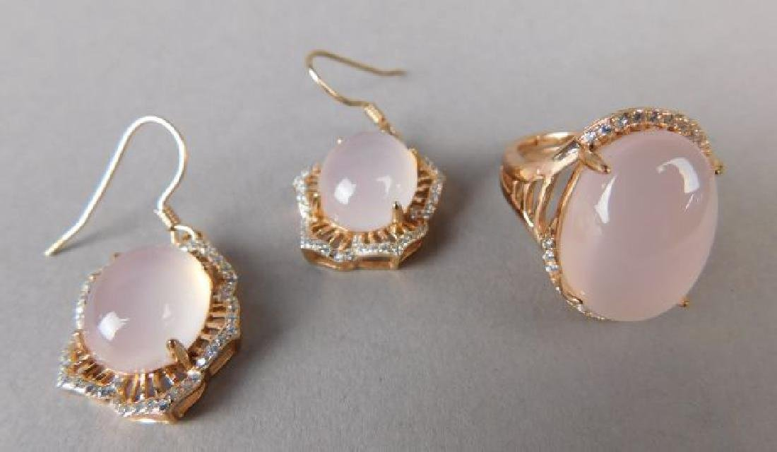 Pink Crystal Ring and Earrings