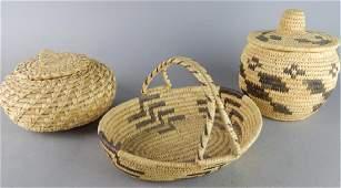 3 Early Native American Baskets By Tohono O'Odham