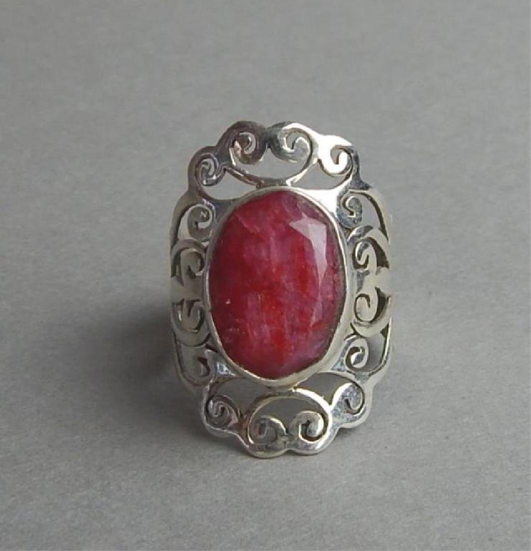 Breathtaking 4.85 Ct Ruby and Silver Ring