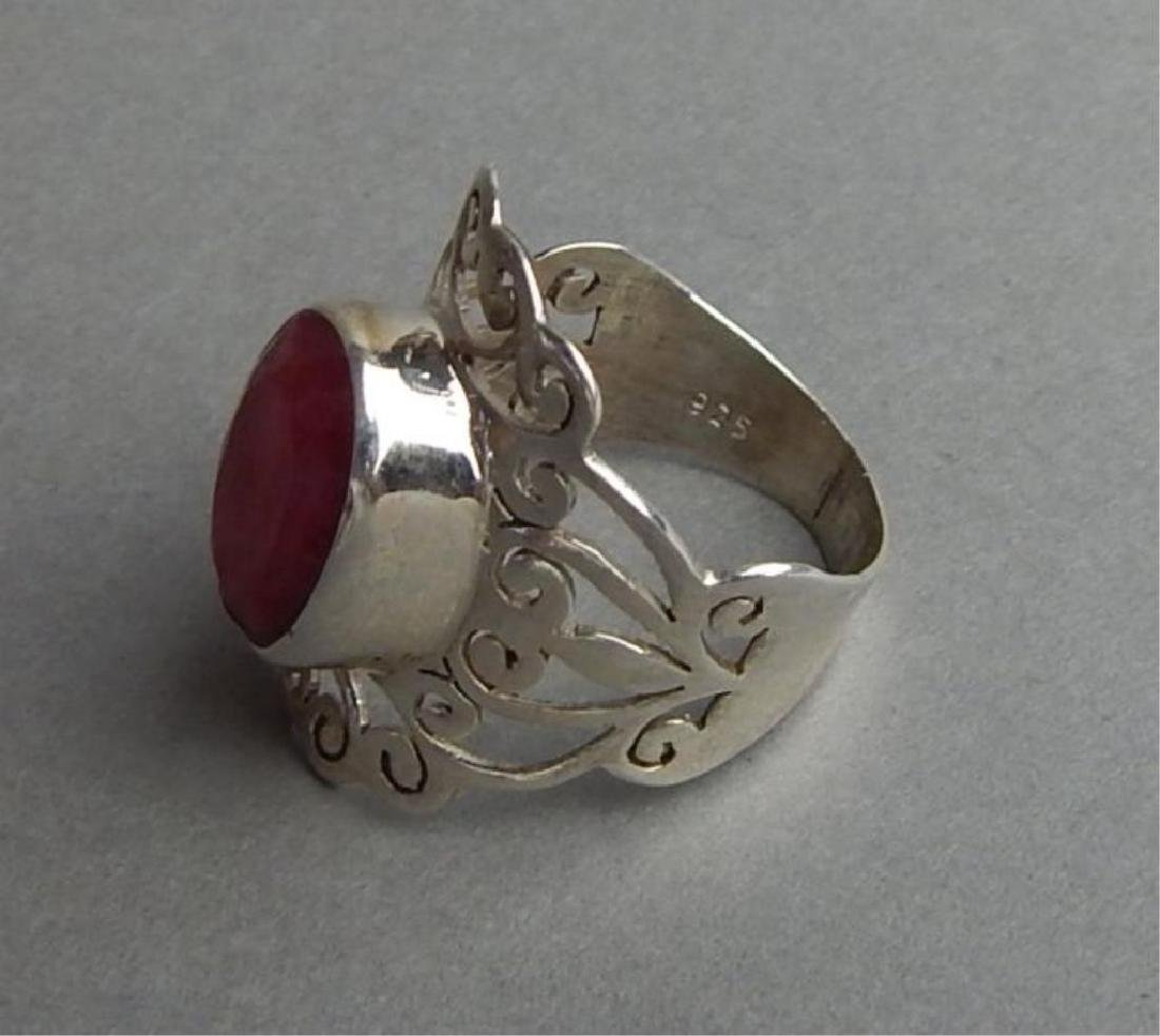 Breathtaking 4.85 Ct Ruby and Silver Ring - 4