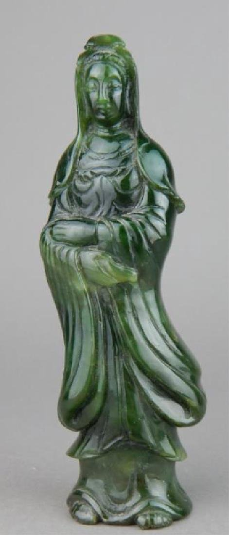 Carved Spinach Jade Quan Yin Goddess