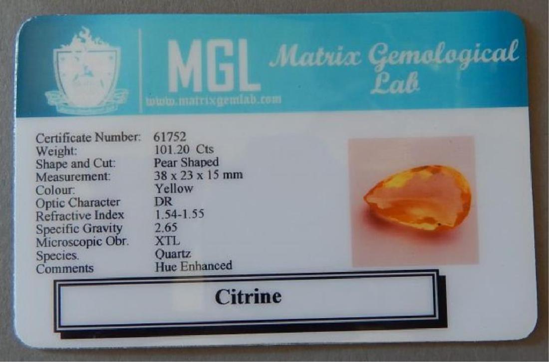 Certified 101.20 ct.Golden Orange Pear Cut Citrine - 6