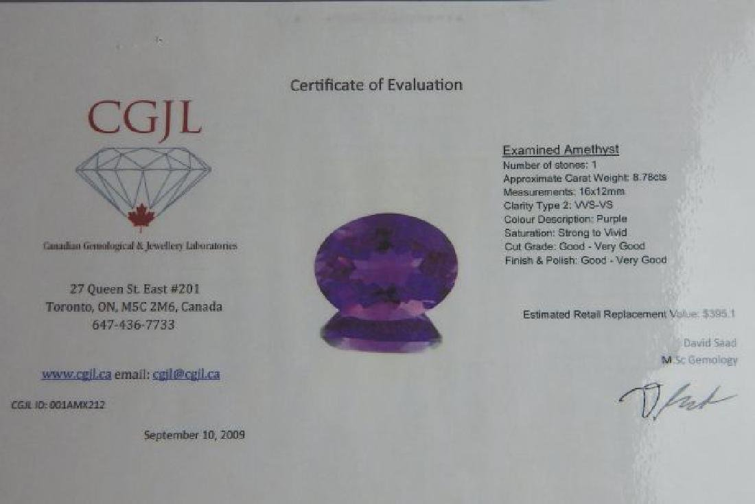 Certified 8.78 CT Natural Amethyst - 4