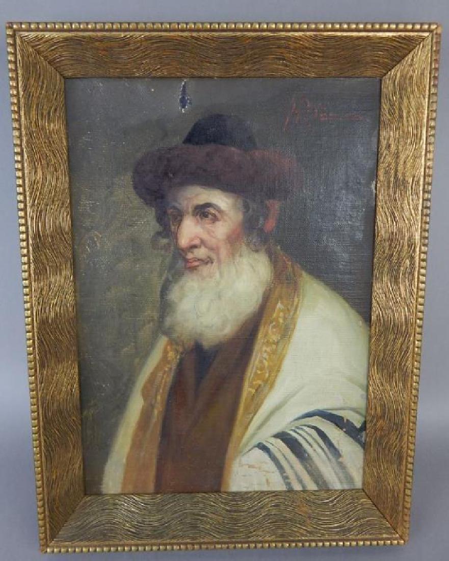 Judaica Rabbi Oil on Canvas on Panel