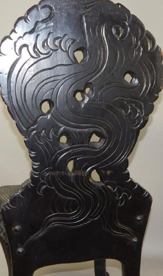 19th Century Japanese Carved Dragon Side Chair - 4