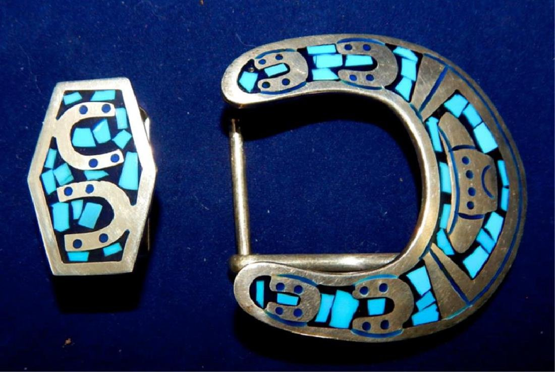 Sterling Silver & Inlaid Turquoise Belt Buckle Set