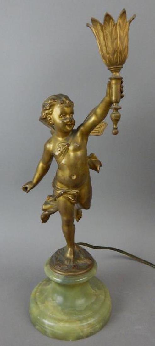 Antique Bronze Cherub Candleabra
