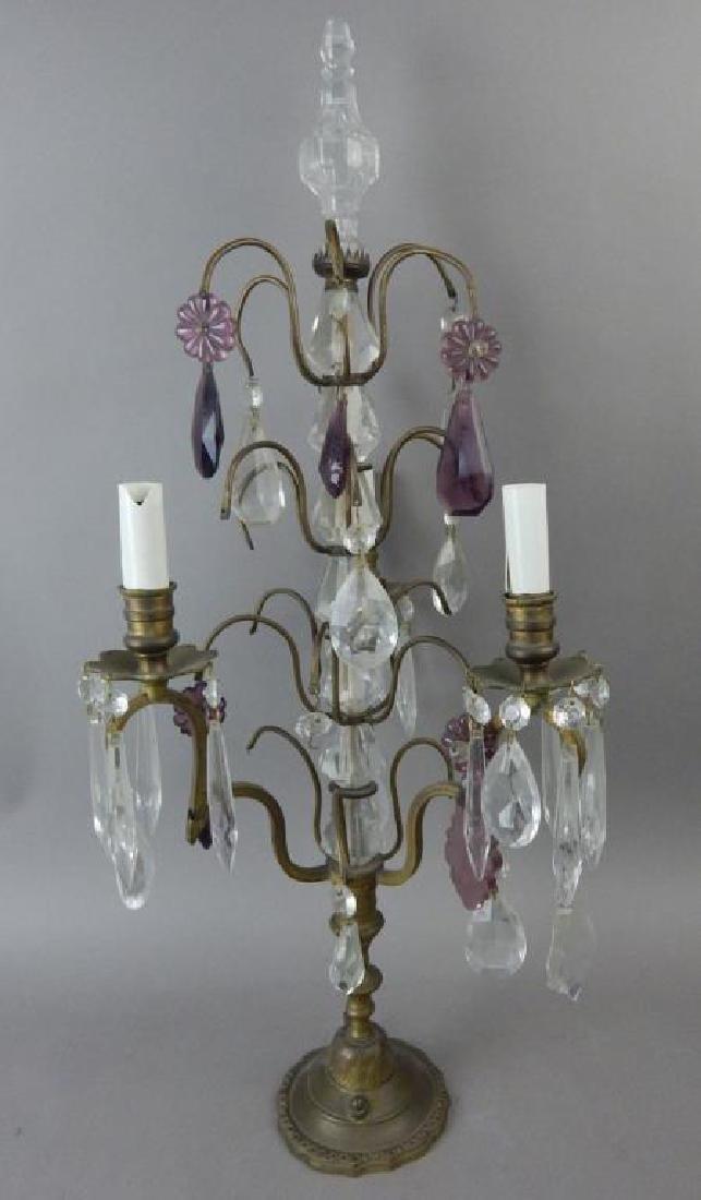 Antique Three Light Crystal Lamp