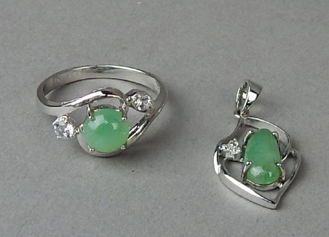 Green Jade and Diamond Ring and Pendant