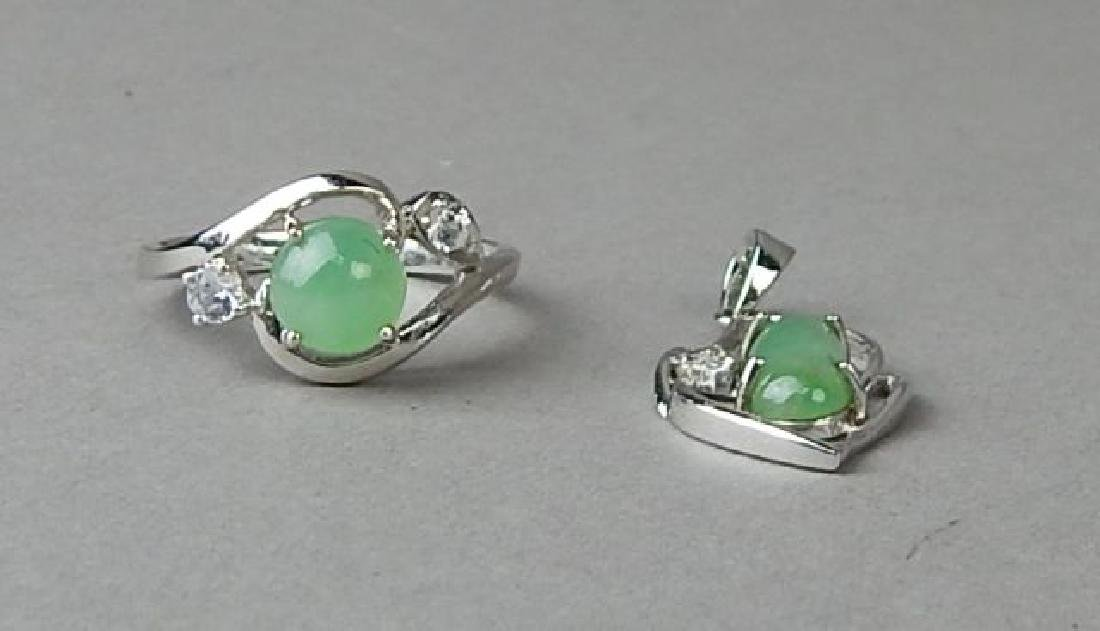 Green Jade and Diamond Ring and Pendant - 2