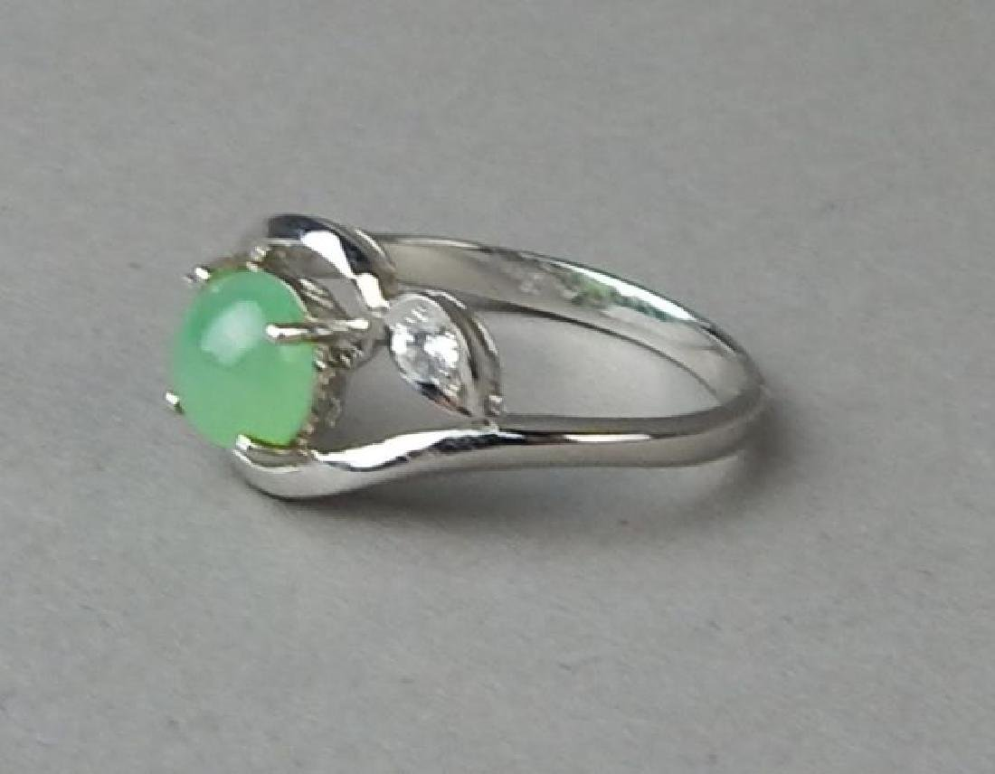 Green Jade and Diamond Ring and Pendant - 3