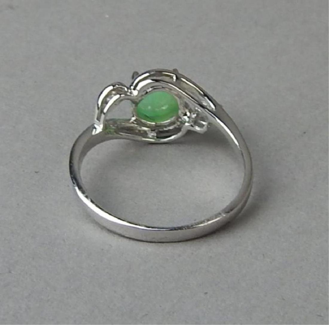 Green Jade and Diamond Ring and Pendant - 4