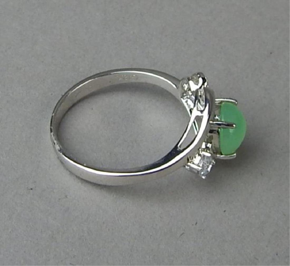 Green Jade and Diamond Ring and Pendant - 5